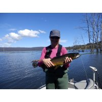 Sue Fly fishing Tasmania